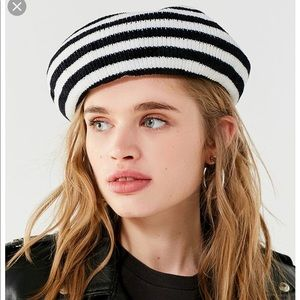Striped black and white beret
